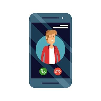 Inkomende oproep concept illustratie met mobiele telefoon met mal beller-id op het scherm en accepteren of weigeren knoppen.