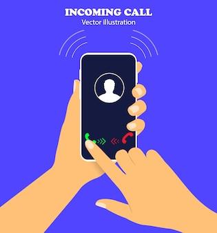 Inkomende oproep op de telefoon.