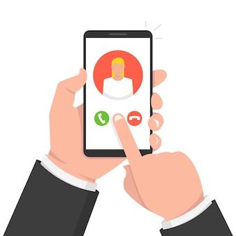 Inkomende oproep op telefoonscherm. vrouwelijke avatar