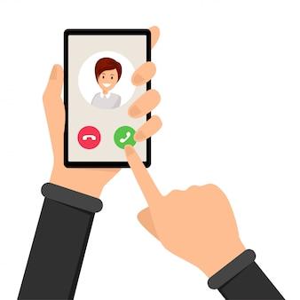 Inkomende oproep, rinkelende telefoon