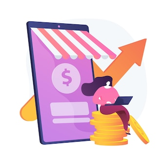 Inkomensgroei. freelancer zittend op munten en werken met laptop stripfiguur. geld verdienen, virtuele verkoop, marketingstrategie. vector geïsoleerde concept metafoor illustratie