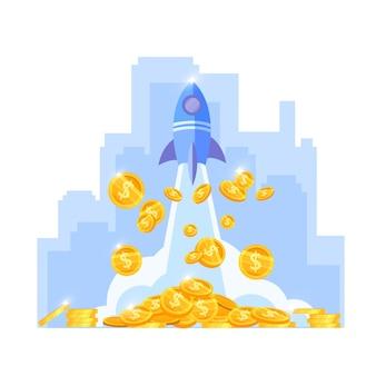 Inkomensgroei of geldstijging financiën vectorillustratie met schiplancering, gouden munten, overzicht van de binnenstad.