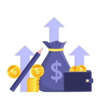Inkomensgroei of omzetstijging beursconcept met muntenstapel, portemonnee, dollars, geldzak.
