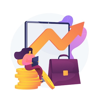 Inkomensgroei, winstgevende zaken, succesvolle handel. workflow, inkomensfluctuatie, pijl in omzetgrafiek. bedrijfseigenaar stripfiguur. vector geïsoleerde concept metafoor illustratie.