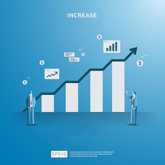 Inkomenssalaris verhoging concept illustratie met mensen karakter en pijl. financieringsprestaties van roi op investering. bedrijfswinstgroei, verkoopgroei marge-inkomsten met dollarteken