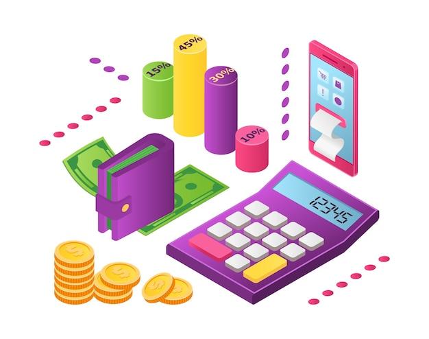 Inkomensverdeling, investeringen, geldbesparingen concept. investeerders verdelen geld met als doel toekomstige voordelen. financiële planning, analyse van marktgegevens. budget gedistribueerd.