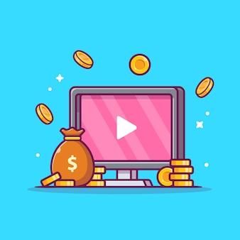 Inkomsten genereren met advertenties, video's, cartoon pictogram illustratie.