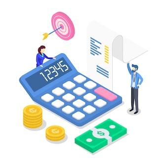 Inkomsten isometrische kleur illustratie. jaarlijks financieel verslag. boekhouding en audit. mensen tellen inkomen. investering. bedrijfsplanning. belastingberekening. concept dat op wit wordt geïsoleerd