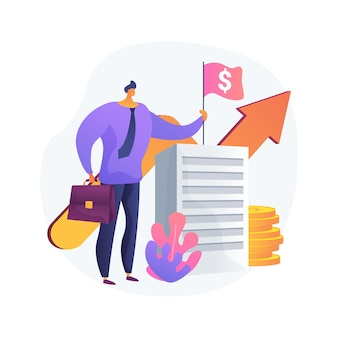 Inkomstenbureau abstract concept vectorillustratie. fiscaal recht, afdracht gst en hst, registratie van ondernemingsnummer, spaar- en pensioenplan, loonrekening, gezinsbijslag, abstracte metafoor voor liefdadigheid.