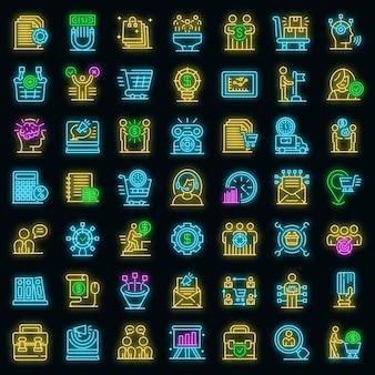 Inkoop manager pictogrammen instellen. overzicht set van purchasing manager vector iconen neon kleur op zwart