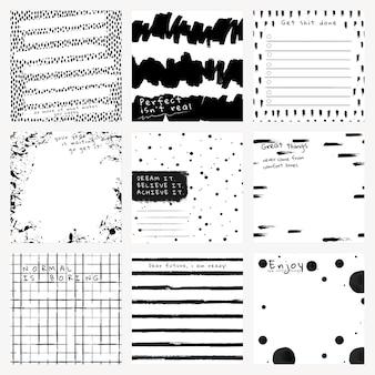 Inkt achtergrond vector abstracte borstel patronen set
