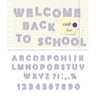 Inkt doodle lettertype geïsoleerd op wit