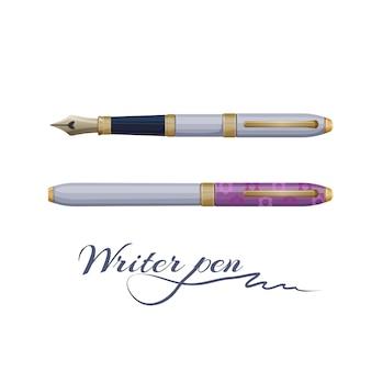 Inkt fontein schrijver pen geïsoleerd op wit