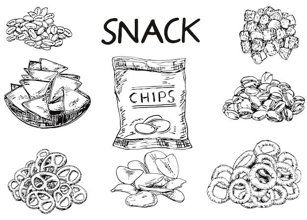 Inkt hand getrokken schets stijl snack set