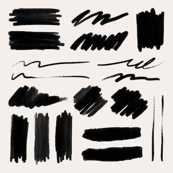 Inkt penseelstreek element vector set in zwart