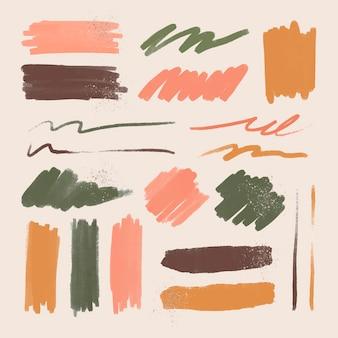Inkt penseelstreek element vector set met glitter