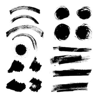 Inkt penseelstreek verschillende grunge creatief element penseel