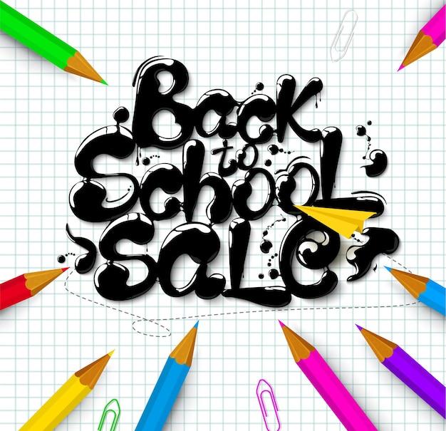 Inkt stroomt in belettering vorm terug naar school sale topografische banner vector