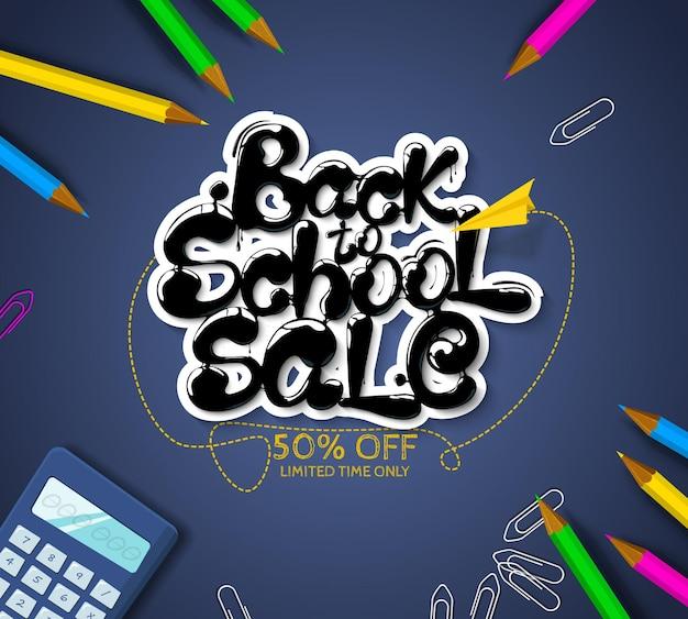 Inkt stroomt in belettering vorm terug naar school verkoop belettering voor banners posters flyers vector