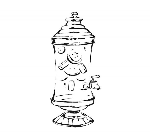 Inkttekening schets illustratie van glas limonade sap stand geïsoleerd op een witte achtergrond