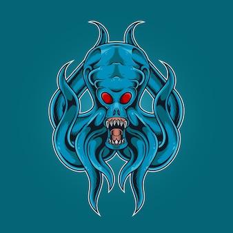 Inktvis monster brult