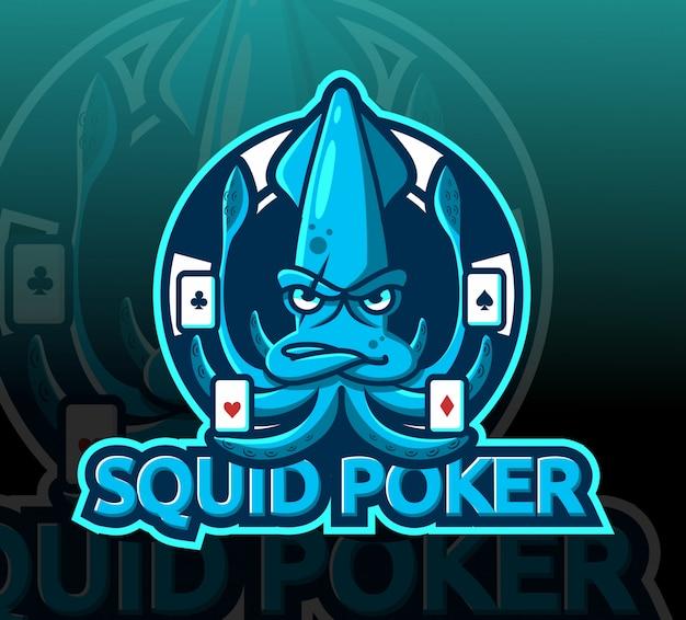 Inktvis poker mascotte esport logo