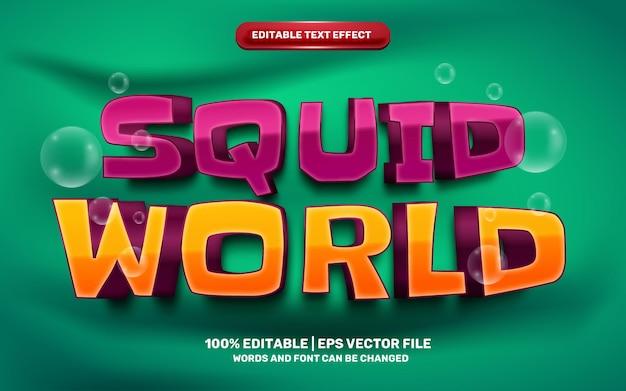 Inktvis wereld spel cartoon komische grappige kinderen 3d bewerkbare teksteffect