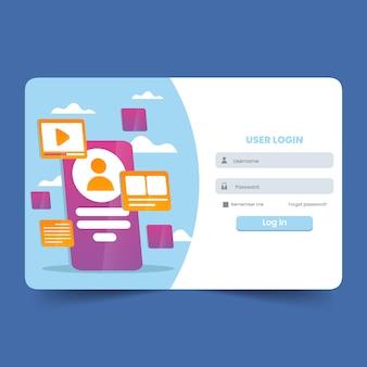 Inlogformulier voor gebruiker voor website of sociale media met illustratie