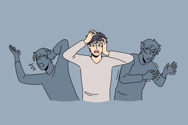 Innerlijke angsten en paniekconcept. jonge gestresste gefrustreerde man die zich verstikt voelt door bange schaduwen rond vectorillustratie