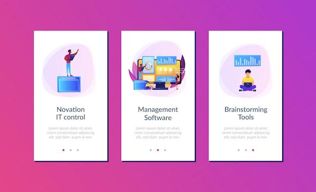 Innovatie management software app interface sjabloon.