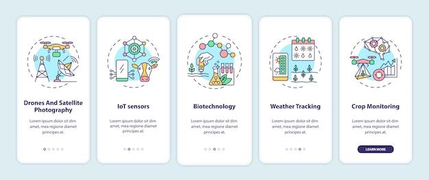 Innovatieve landbouwtechnologie onboarding mobiele app-paginascherm met concepten.