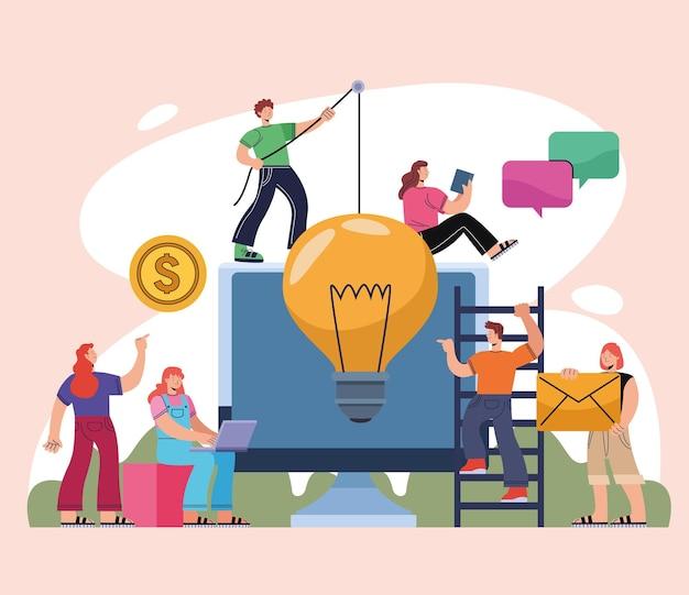 Innovatieve personen en desktop