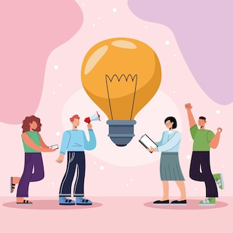 Innovatieve personen met lamp