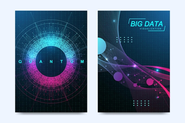 Innovatieve voorbladsjabloon kwantumcomputertechnologie, big data visualisatie, kunstmatige intelligentie voor brochure, folder, flyer, omslag, banner.