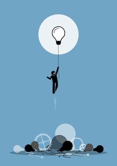 Innovator creëerde een nieuw werkidee dat functioneert.
