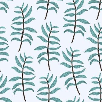 Inschrijving groen naadloze patroon. hand getrokken varenbladeren en takken