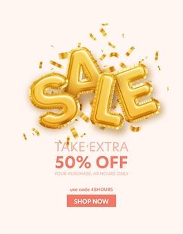 Inschrijving verkoop gemaakt van goudfolie ballen en gouden glitter pailletten