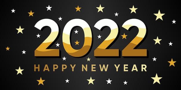 Inscriptie gelukkig nieuwjaar 2022 op achtergrond met realistische gouden decoratie. vectorpremie