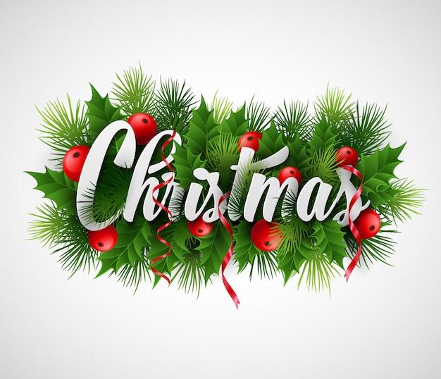 Inscriptie kerstmis met dennentakken en hulst