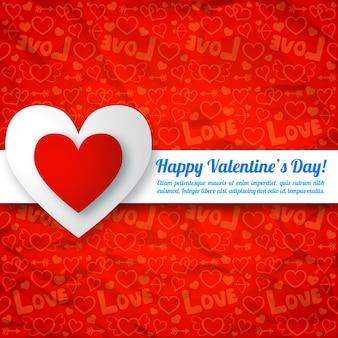 Inscriptie kleurrijke harten lint op rode pictogrammen naadloze patroon vectorillustratie