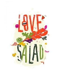 Inscriptie liefde salade.