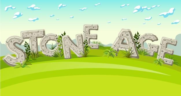 Inscriptie steentijd in zomerlandschap 3d schrijven met bladeren en gras