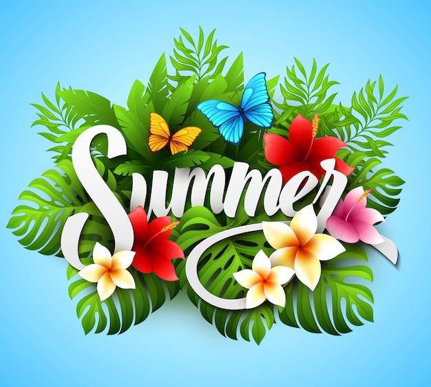 Inscriptie zomer. illustratie met tropische planten en bloemen
