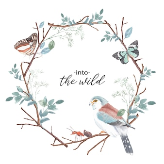 Insect en vogel krans met vlinder, mier, vink, tak aquarel illustratie.