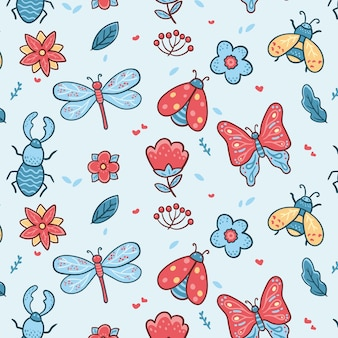 Insecten en bloemenpatroon