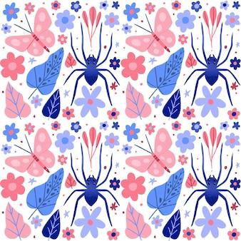 Insecten en bloemenpatrooninzamelingsconcept