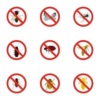 Insecten ondertekenen set, vlakke stijl