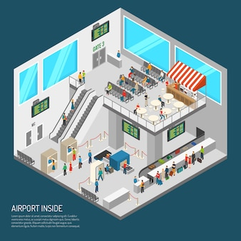 Inside airport isometric poster