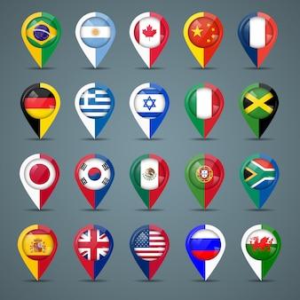 Insignes met vlaggen