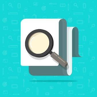 Inspectie van papieren documenten of zoeken via vergrootglas